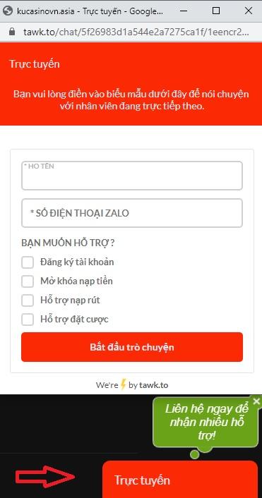 hỗ trợ hướng dẫn đăng ký ku casino qua tawk.to