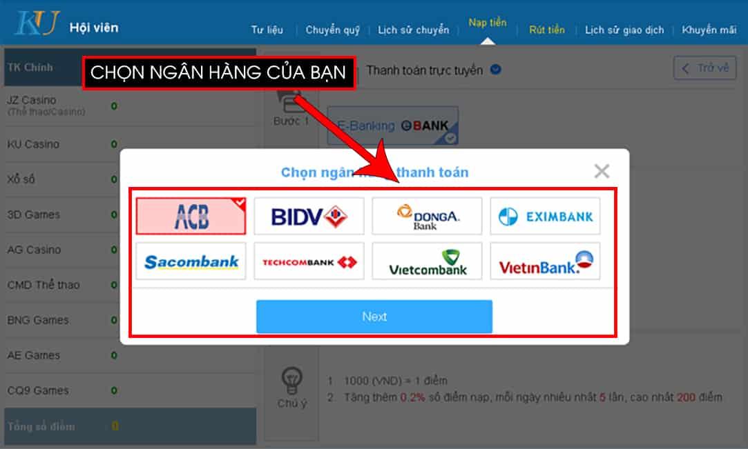nạp tiền kubet, nạp tiền bằng e banking