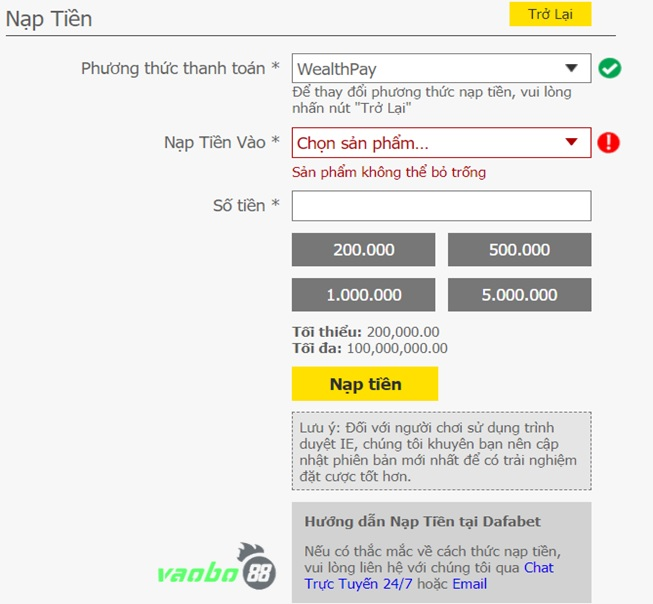 Gửi tiền qua dafabet ngân hàng trực tuyến