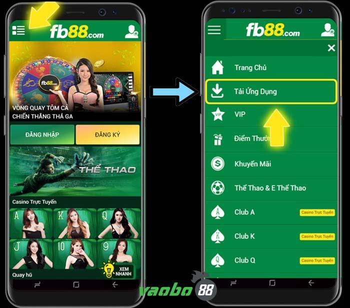 hướng dẫn cài đặt ứng dụng fb88 android